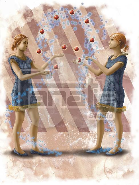 Illustrative image of female circus performers juggling