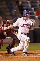 """Florida Gators Kamm Washington #14 during a game vs. the Florida State Seminoles in the """"Florida Four"""" at George M. Steinbrenner Field in Tampa, Florida;  March 1, 2011.  Florida State defeated Florida 5-3.  Photo By Mike Janes/Four Seam Images"""