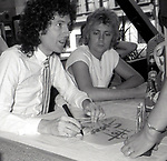 "Brian May and Roger Taylor of Queen attend Queen Press Conference for ""Hot Space"" at Crazy Eddie's on July 27, 1982  in New York City."