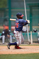 Atlanta Braves Alay Lago (15) during a minor league Spring Training game against the Detroit Tigers on March 25, 2017 at ESPN Wide World of Sports Complex in Orlando, Florida.  (Mike Janes/Four Seam Images)