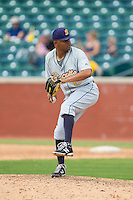 Montgomery Biscuits relief pitcher Santiago Garrido (19) in action against the Chattanooga Lookouts at AT&T Field on July 23, 2014 in Chattanooga, Tennessee.  The Lookouts defeated the Biscuits 6-5. (Brian Westerholt/Four Seam Images)