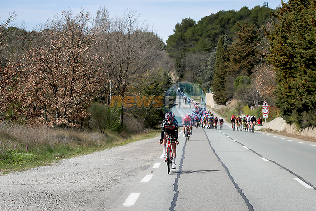 The breakaway tries to form during Stage 6 of Paris-Nice 2021, running 202.5km from Brignoles to Biot, France. 12th March 2021.<br /> Picture: ASO/Fabien Boukla | Cyclefile<br /> <br /> All photos usage must carry mandatory copyright credit (© Cyclefile | ASO/Fabien Boukla)