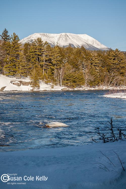 Mount Katahdin over the Penobscot River, Piscataquis County, ME