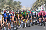 The peloton during Stage 6 of the 2021 UAE Tour running 165km from Deira Island to Palm Jumeirah, Dubai, UAE. 26th February 2021.<br /> Picture: LaPresse/Fabio Ferrari   Cyclefile<br /> <br /> All photos usage must carry mandatory copyright credit (© Cyclefile   LaPresse/Fabio Ferrari)