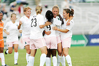 Athletica players celebrate Amanda Cinalli's goal...Saint Louis Athletica defeated Sky Blue FC 1-0 at Anheuser-Busch Soccer Park, Saint Louis, MO.
