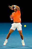 13th February 2021, Melbourne, Victoria, Australia; Rafael Nadal of Spain returns the ball during round 3 of the 2021 Australian Open on February 13 2020, at Melbourne Park in Melbourne, Australia.