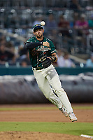 Greensboro Grasshoppers third baseman Jared Triolo (19) makes a throw to first base against the Winston-Salem Dash at First National Bank Field on June 3, 2021 in Greensboro, North Carolina. (Brian Westerholt/Four Seam Images)