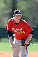 Pitcher Wes Parsons (76) of the Atlanta Braves farm system in a Minor League Spring Training workout on Monday, March 16, 2015, at the ESPN Wide World of Sports Complex in Lake Buena Vista, Florida. (Tom Priddy/Four Seam Images)
