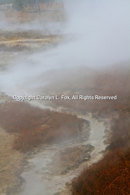 Steam rises from the river in Yellowstone National Park.