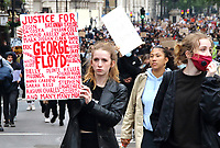 Protesters march along Whitehall to Trafalgar Square at the end of the latest Black Lives Matter demonstration in London, UK on June 12th 2020<br /> <br /> Photo by Keith Mayhew