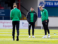 13th March 2021; Global Energy Stadium, Dingwall, Highland, Scotland; Scottish Premiership Football, Ross County versus Hibernian; Martin Boyle of Hibernian and Ryan Porteous of Hibernian inspect the pitch before kick off