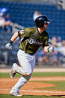 Biloxi Shuckers catcher Tyler Heineman (8) runs to first base during a game against the Jacksonville Jumbo Shrimp on May 6, 2018 at MGM Park in Biloxi, Mississippi.  Biloxi defeated Jacksonville 6-5.  (Mike Janes/Four Seam Images)