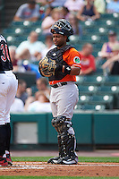 Norfolk Tides catcher Audry Perez (20) during a game against the Rochester Red Wings on July 17, 2016 at Frontier Field in Rochester, New York.  Rochester defeated Norfolk 3-2.  (Mike Janes/Four Seam Images)