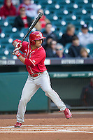 Nebraska Cornhuskers shortstop Steven Reveles (5) at bat during Houston College Classic against the Texas A&M Aggies on March 6, 2015 at Minute Maid Park in Houston, Texas. Texas A&M defeated Nebraska 2-1. (Andrew Woolley/Four Seam Images)