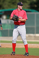 Boston Red Sox minor league pitcher Jacob Dahlstrand (50) during a game vs. the Minnesota Twins in an Instructional League game at Lee County Sports Complex in Fort Myers, Florida;  October 1, 2010.  Photo By Mike Janes/Four Seam Images