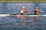 Rowing, 2011 FISA World Rowing Championships, Lake Bled, Bled, Slovenia, Europe, Rowing Canada Aviron, woman's lightweight double, Lindsay Jennerich (Victoria, BC) University of Victoria RC, Patricia Obee (Victoria, BC) Victoria City RC, stroke, workout Friday August 27th 2011