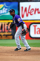 Akron Aeros infielder Jose Ramirez (10) during game against the Trenton Thunder at ARM & HAMMER Park on April 17, 2013 in Trenton, New Jersey.  Akron defeated Trenton 10-6.  Tomasso DeRosa/Four Seam Images