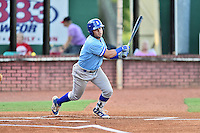 Burlington Royals second baseman Gabriel Cancel (12) swings at a pitch during game against the Elizabethton Twins at Joe O'Brien Field on August 24, 2016 in Elizabethton, Tennessee. The Royals defeated the Twins 8-3. (Tony Farlow/Four Seam Images)
