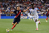 Harrison, NJ - Friday July 07, 2017: Kenner Gutiérrez, Alberth Elis during a 2017 CONCACAF Gold Cup Group A match between the men's national teams of Honduras (HON) vs Costa Rica (CRC) at Red Bull Arena.