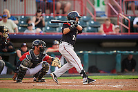 Richmond Flying Squirrels Eliezer Zambrano (2) at bat in front of catcher Austin Green during a game against the Erie SeaWolves on May 27, 2016 at Jerry Uht Park in Erie, Pennsylvania.  Richmond defeated Erie 7-6.  (Mike Janes/Four Seam Images)