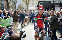 Philippe Gilbert (BEL/BMC) coming to the start from the sign-on stage<br /> <br /> 79th Flèche Wallonne 2015