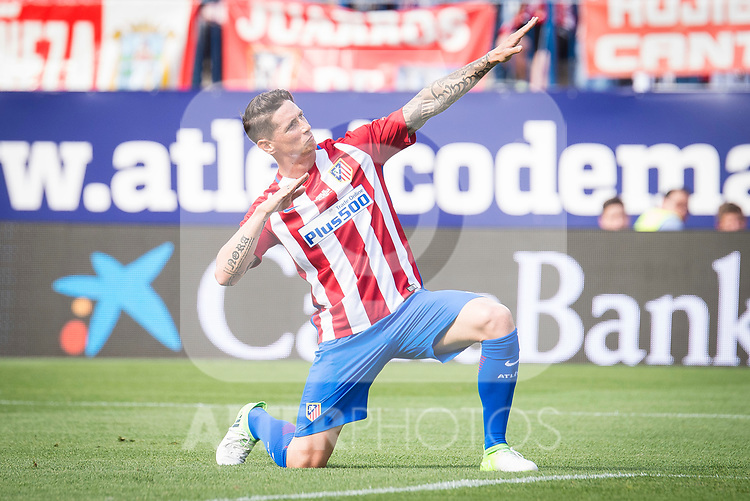 Atletico de Madrid Legends's Fernando Torres celebrating a goal during friendly match to farewell  to Vicente Calderon Stadium in Madrid, May 28, 2017. Spain.<br /> (ALTERPHOTOS/BorjaB.Hojas)