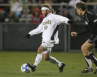 Joseph Lapira #10 of Notre Dame gets off a shot in front of Ian Daniel #21 of Oakland. The University of Notre Dame defeated Oakland University 2-1 in the second round of the NCAA championship at Alumni Field at the University of Notre Dame in South Bend, Indiana on November 28, 2007.