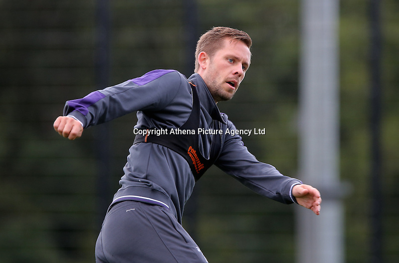 Gylfi Sigurdsson in action during the Swansea City FC Training at Fairwood Training Ground on September 8, 2016 in Swansea, Wales.