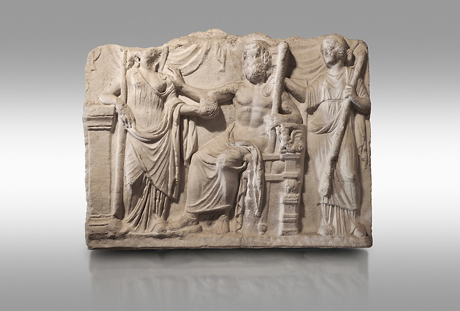 Roman relief sculpture of the Marriage of Zeus and Leto Hieros Gamos. Roman 2nd century AD, Hierapolis Theatre.. Hierapolis Archaeology Museum, Turkey. Against a grey background