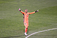 COLUMBUS, OH - DECEMBER 12: Eloy Room #1 of the Columbus Crew reacts to his team's third goal during a game between Seattle Sounders FC and Columbus Crew at MAPFRE Stadium on December 12, 2020 in Columbus, Ohio.