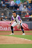 """Akron RubberDucks third baseman Nolan Jones (17) during an Eastern League game against the Erie SeaWolves on August 30, 2019 at Canal Park in Akron, Ohio.  Akron wore special jerseys with the slogan """"Fight Like a Kid"""" during the game for Akron Children's Hospital Home Run for Life event, the design was created by 11 year old Macy Carmichael.  Erie defeated Akron 3-2.  (Mike Janes/Four Seam Images)"""