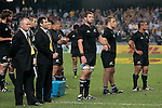 Players of the All Blacks react after the match of DHL Hong Kong Bledisloe Cup between New Zealand All Blacks and Australia Wallabies at Hong Kong Stadium on October 30, 2010 in Hong Kong, China.