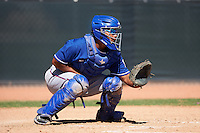 Texas Rangers catcher Francisco Ventura (38) during an Instructional League game against the Cincinnati Reds on October 4, 2016 at the Surprise Stadium Complex in Surprise, Arizona.  (Mike Janes/Four Seam Images)
