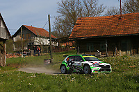 25th April 2021; Zagreb, Croatia; WRC Rally of Croatia, Final stages; Andreas Mikkelsen - Skoda Fabia Evo WRC2