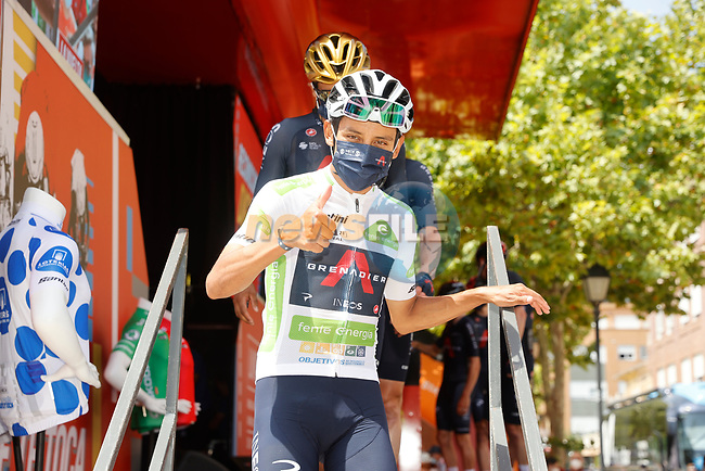 White Jersey Egan Bernal (COL) Ineos Grenadiers at sign on before the start of Stage 6 of La Vuelta d'Espana 2021, running 158.3km from Requena to Alto de la Montaña Cullera, Spain. 19th August 2021.    <br /> Picture: Luis Angel Gomez/Photogomezsport | Cyclefile<br /> <br /> All photos usage must carry mandatory copyright credit (© Cyclefile | Luis Angel Gomez/Photogomezsport)
