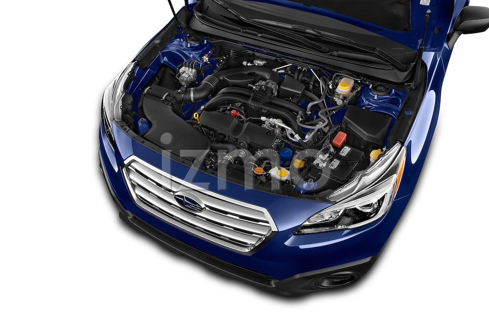 Car Stock 2015 Subaru Outback 2.5i CVT 4 Door Wagon Engine high angle detail view