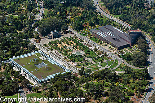 aerial photograph of the California Academy of Sciences and the de Young Museum, Golden Gate Park, San Francisco, California
