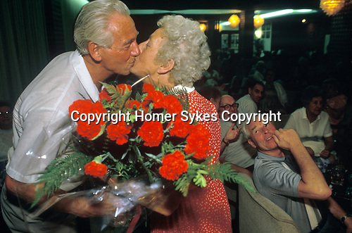 Package holiday 'Young at Heart', 1980s. Magaluf, Majorca, Spain. Glamorous Grandmother Competition.