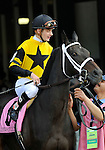 09 June 06: Jockey Julien Leparoux rides favorite Justwhistledixie onto the track prior to finishing second behind Gabby's Golden Gal in the 79th running of the grade 1 Acorn Stakes for three year old fillies at Belmont Park in Elmont, New York.