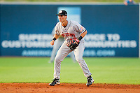 Shortstop Rick Hague #18 of the Hagerstown Suns on defense against the Greensboro Grasshoppers at NewBridge Bank Park July 30, 2010, in Greensboro, North Carolina.  Photo by Brian Westerholt / Four Seam Images