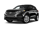 Stock pictures of low aggressive front three quarter view of 2018 Hyundai Tucson SE 5 Door Suv Low Aggressive
