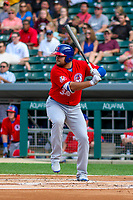 Buffalo Bisons first baseman Rowdy Tellez (34) at bat during an International League game against the Indianapolis Indians on July 28, 2018 at Victory Field in Indianapolis, Indiana. Indianapolis defeated Buffalo 6-4. (Brad Krause/Four Seam Images)