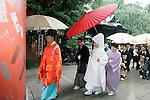 Traditional Japanese wedding at the Okunitama Shinto Shrine in Fuchu-shi, Tokyo.