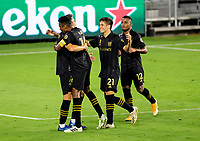 LOS ANGELES, CA - SEPTEMBER 02: Danny Musovski #16 of the LAFC scores a goal during a game between San Jose Earthquakes and Los Angeles FC at Banc of California stadium on September 02, 2020 in Los Angeles, California.