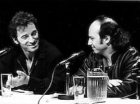 FILE PHOTO  - Bruce Springsteen (L) and Michel Rivard attend Amnesty International's  news conference, Sept 16, 1988
