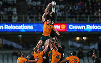 NZ's Sam Whitelock takes lineout ball during the Bledisloe Cup rugby match between the New Zealand All Blacks and Australia Wallabies at Eden Park in Auckland, New Zealand on Saturday, 14 August 2021. Photo: Simon Watts / lintottphoto.co.nz / bwmedia.co.nz