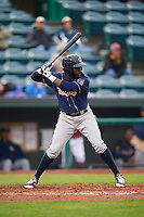 New Hampshire Fisher Cats center fielder Anthony Alford (10) at bat during a game against the Altoona Curve on May 11, 2017 at Peoples Natural Gas Field in Altoona, Pennsylvania.  Altoona defeated New Hampshire 4-3.  (Mike Janes/Four Seam Images)