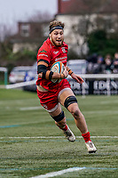 Jake Upfield of Jersey Reds during the Championship Cup QF match between Ealing Trailfinders and Jersey Reds at Castle Bar, West Ealing, England  on 22 February 2020. Photo by David Horn.