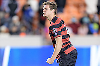 Houston, TX - Friday December 9, 2016: Foster Langsdorf (2) of the Stanford Cardinal celebrates after making his kick in the overtime shootout against the North Carolina Tar Heels at the NCAA Men's Soccer Semifinals at BBVA Compass Stadium in Houston Texas.