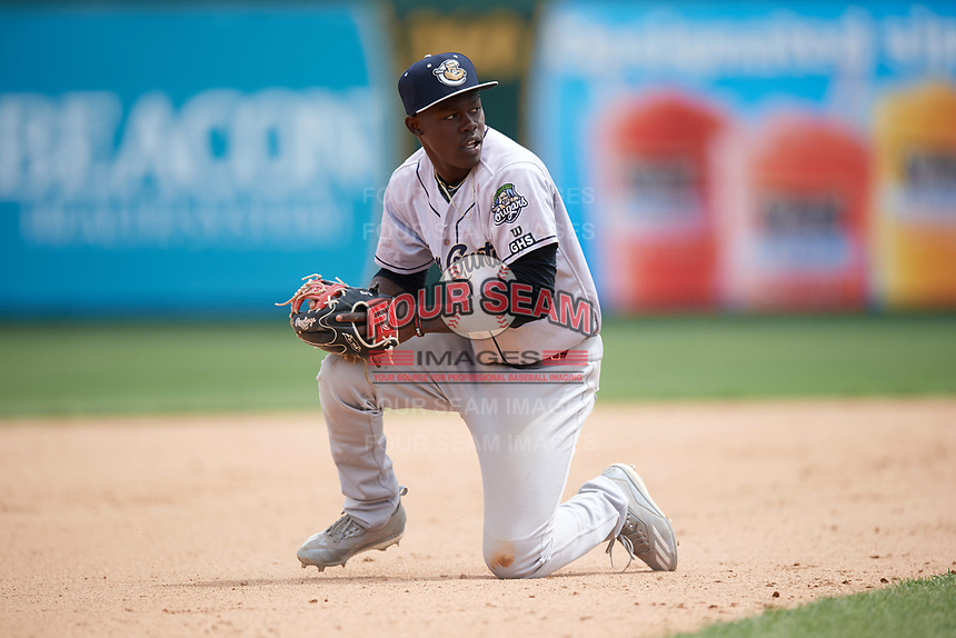 Kane County Cougars shortstop Jasrado Chisholm (3) looks to throw to first after a diving stop during a game against the South Bend Cubs on May 3, 2017 at Four Winds Field in South Bend, Indiana.  South Bend defeated Kane County 6-2.  (Mike Janes/Four Seam Images)